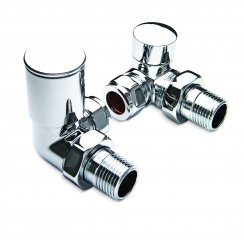 "15mm x 1/2"" 90° Corner Modern Decorative Polished Radiator Valves (Pair)"