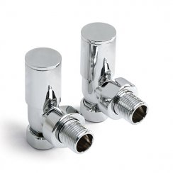 "15mm x 1/2"" Angled Modern Decorative Polished Raditator Valves (Pair)"