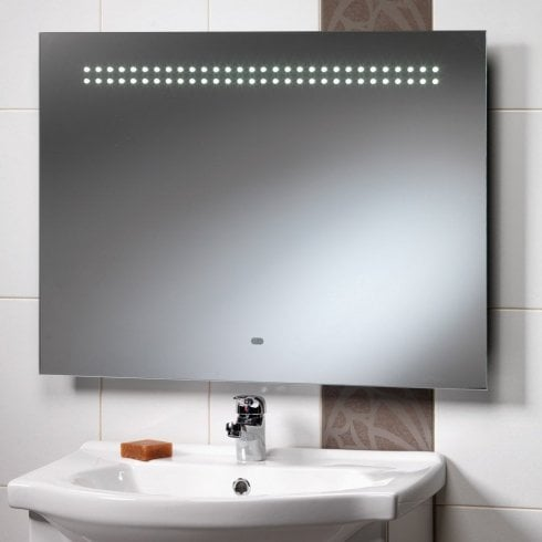 Ascent Mirrors Western Mirror with LED Lights, Shaver Socket & Rear Anti-Mist Pad - 800 x 600mm