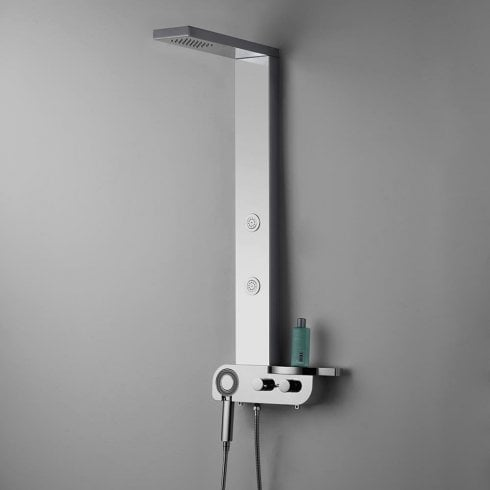 Ascent Showering Milan Shower Column with Square Rainfall Head, Body Jets & Shower Kit