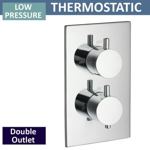 Ascent Showering Ohio Twin Thermostatic Shower Valve with 2 Outlets (controls 2 functions, 1 at a time)