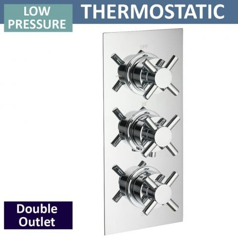 Ascent Showering Trio Triple Thermostatic Shower Valve with 2 Outlets (controls 2 functions, simultaneously)