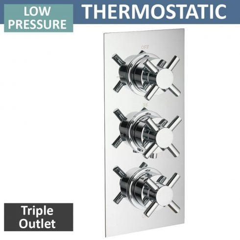 Ascent Showering Trio Triple Thermostatic Shower Valve with 3 Outlets (controls 3 functions, 2 at a time)