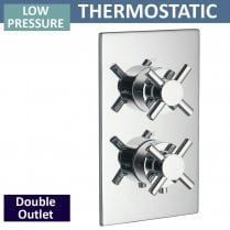 Trio Twin Thermostatic Shower Valve with 2 Outlets (controls 2 functions, 1 at a time)