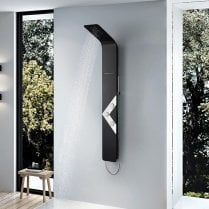Venetian Thermostatic Shower Column with Curved Rainfall Head, Waterfall Spout, Body Jets & Shower Kit