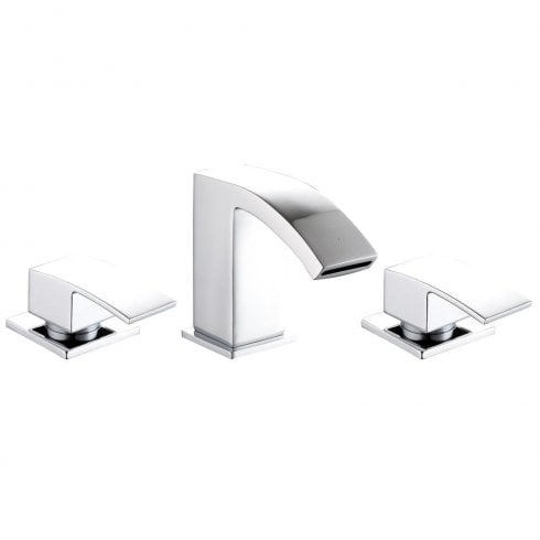 Ascent Taps Grosvenor 3 Tap Hole Basin OR Bath Filler with Open Waterfall Spout