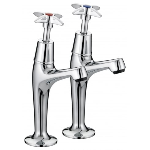 Bristan 5412 Cross Top High Neck Pillar Taps Chrome Plated