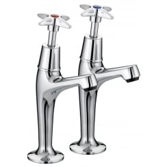 5412 Cross Top High Neck Pillar Taps Chrome Plated