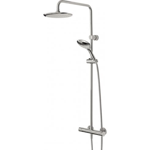 Bristan Claret Thermostatic Exposed Bar Valve with Rigid Riser and Integral Diverter to Handset Chrome