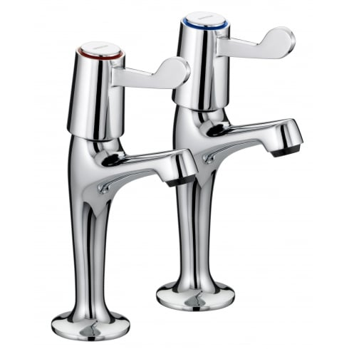 Lever High Neck Pillar Taps Chrome Plated With Ceramic Disc Valves
