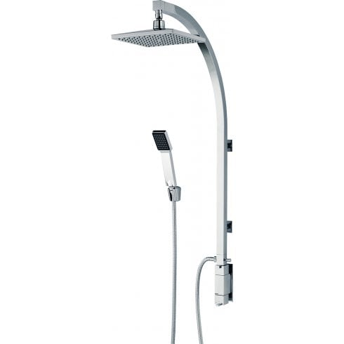 Bristan Qube Inline Vertical Shower Pole with Integral Diverter to Handset Chrome