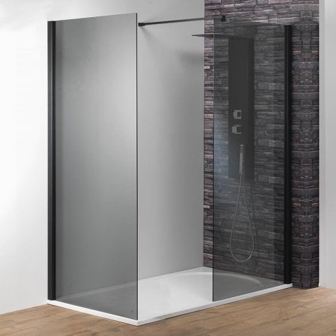 Genesis 8mm Black/Smoked Glass Shower Wall with Easy-Clean Glass