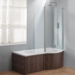 California 'P' Shaped Shower Bath, Double Screen & Wooden Panels (Standard & Superspec) - 1500 & 1700mm