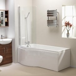 California 'P' Shaped Shower Bath, Screen & Front Panel (Standard & Superspec) - 1500 & 1700mm