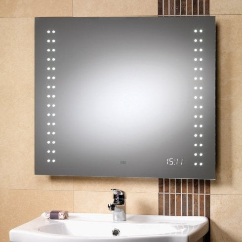 Genesis Discovery Mirror with LED Lights & Clock - 700 x 600mm