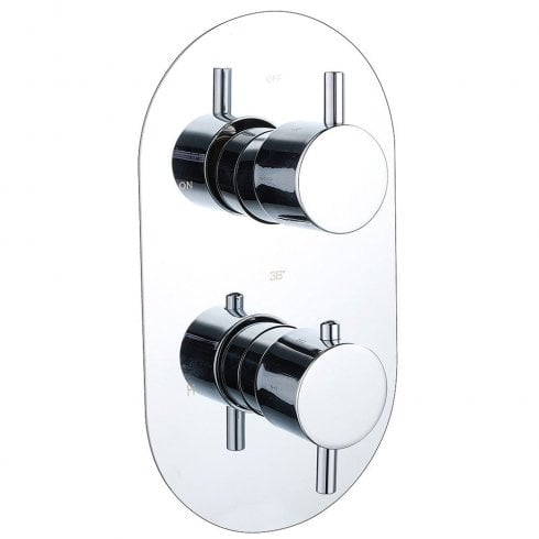 Genesis Ebony Round Twin Thermostatic Shower Valve with 1 Outlet (controls 1 function)