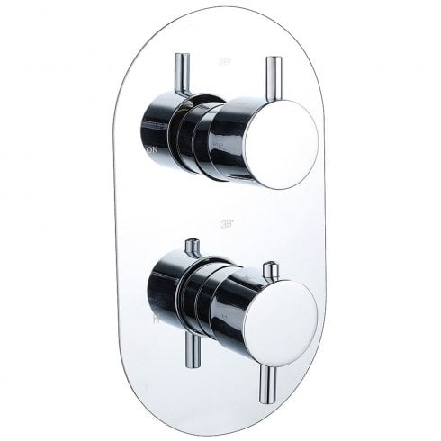 Genesis Ebony Round Twin Thermostatic Shower Valve with 2 Outlets (controls 2 functions)
