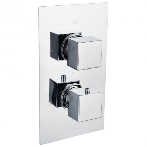 Genesis Ebony Square Twin Thermostatic Shower Valve with 2 Outlets (controls 2 functions)
