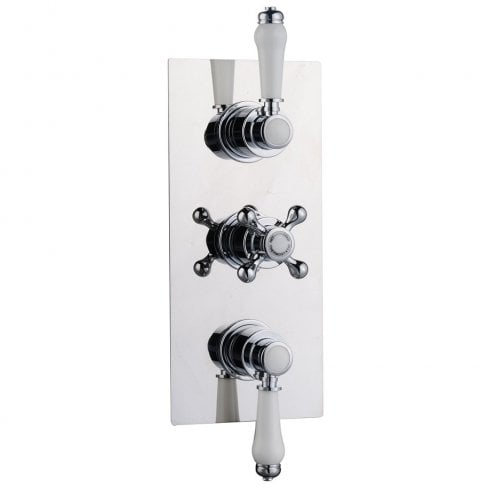 Genesis Ebony Traditional Triple Thermostatic Shower Valve with 2 Outlets (controls 2 functions, simultaneously)