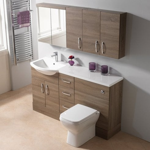 Genesis Q-Line 1500 1-Piece Round Offset Basin Combination - 350mm Depth