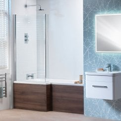 Vermont 'L' Shaped Shower Bath, Vermont Screen & Wooden Front Panel (Standard & Superspec) - 1500 & 1700mm