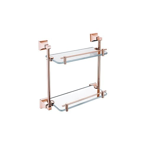 Heritage Bathrooms Chancery Double Glass Shelf Rose Gold