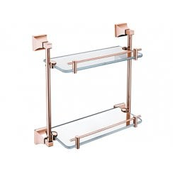 Chancery Double Glass Shelf Rose Gold