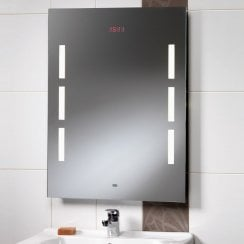 Crystal 600 x 800mm Mirror with Back-Lit Lights, LED Clock & Rear Anti-Mist Pad