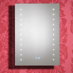 Duke 500 x 700mm Mirror with LED Lights, LED Clock, Bluetooth Function, Anti-Mist Pad & Sensor Switch