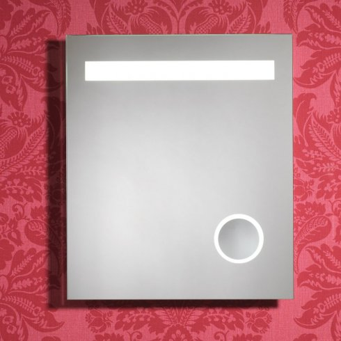 Qualitex - Ascent Mirrors Prince 600 x 700mm Mirror with LED Lights, Cosmetic Mirror, Anti-Mist Pad & Sensor Switch