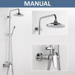 Alaska Exposed Manual Shower Valve with Fixed Head & Slider Kit