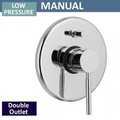 Minimalist Manual Shower Valve with Diverter - 2 Outlets (controls 2 functions, 1 at a time)