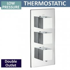 Nevada Triple Thermostatic Shower Valve with 2 Outlets (controls 2 functions, simultaneously)