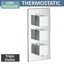 Nevada Triple Thermostatic Shower Valve with 3 Outlets (controls 3 functions, 2 at a time)