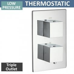 Nevada Twin Thermostatic Shower Valve with 3 Outlets (controls 3 functions, 1 at a time)