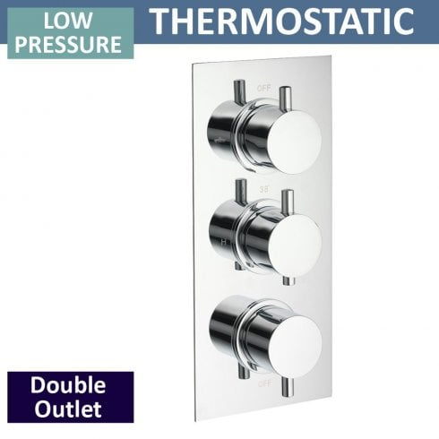 Qualitex - Ascent Showering Ohio Triple Thermostatic Shower Valve with 2 Outlets (controls 2 functions, simultaneously)