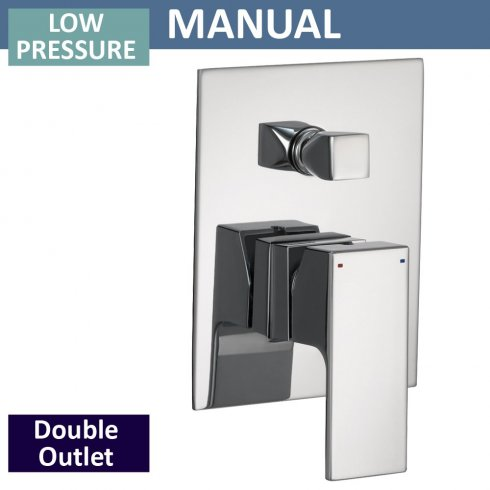 Qualitex - Ascent Showering Square Manual Shower Valve with Diverter - 2 Outlets (controls 2 functions, 1 at a time)