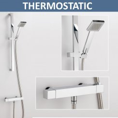 Square Thermostatic Bar Shower Valve & Slider Kit