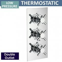 Trio Triple Thermostatic Shower Valve with 2 Outlets (controls 2 functions, simultaneously)