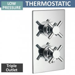 Trio Twin Thermostatic Shower Valve with 3 Outlets (controls 3 functions, 1 at a time)