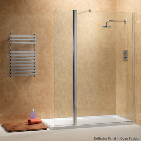 Qualitex Ascent Showering WalkIn With Rotating Deflector Panels - Easy to clean bathroom tile