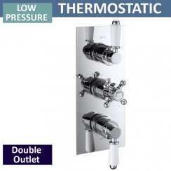Ebony Traditional Triple Thermostatic Shower Valve with 2 Outlets (controls 2 functions, simultaneously)