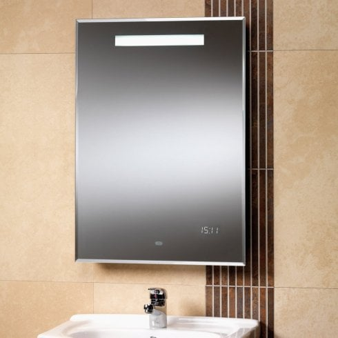 Qualitex - Genesis Milan 500 x 700mm Mirror with Back-Lit Lights & LED Clock