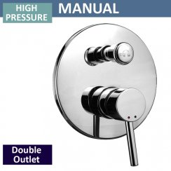 Round Manual Shower Valve with Diverter - 2 Outlets (controls 2 functions, 1 at a time)