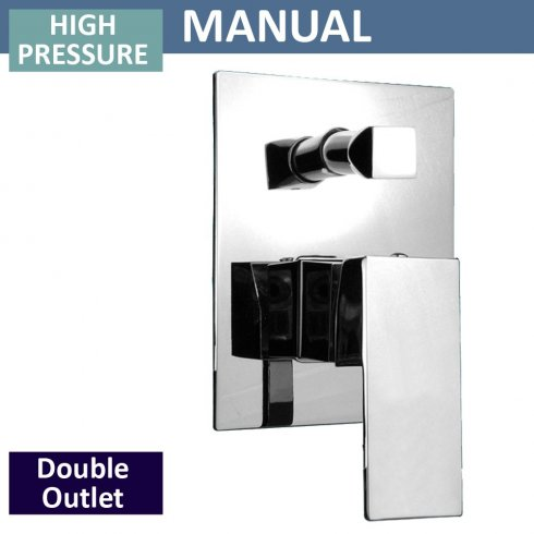 Qualitex - Genesis Square Manual Shower Valve with Diverter - 2 Outlets (controls 2 functions, 1 at a time)
