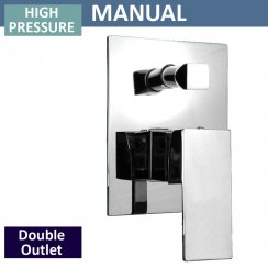 Square Manual Shower Valve with Diverter - 2 Outlets (controls 2 functions, 1 at a time)