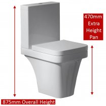 Aston Comfort Elevated WC including Soft Close Seat