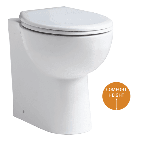 QX Comfort Elevated Back-to-Wall Pan & Soft Close Seat