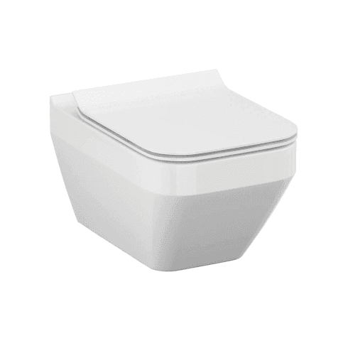 QX Crea Square Rimless Wall-Hung Pan & Soft Close Seat