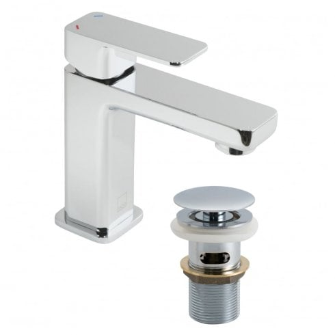 Vado Phase Mini Mono Basin Mixer with Clic-Clac Waste  (PHA-200M/CC-C/P)